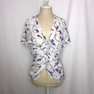 Lewit by Nordstrom | Silk Floral Blouse (Size: M)